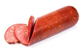 Salami smoked sausage slices isolated on Stock Photos
