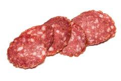 Salami smoked sausage on white background cutout.  stock image