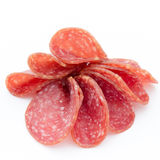 Salami smoked sausages slices isolated on white background. Stock Image