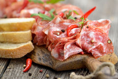 Salami snack Royalty Free Stock Images