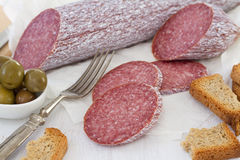 Salami with toasts Royalty Free Stock Photos