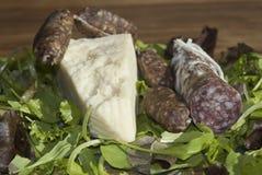 Salami und pecorino Stockfoto