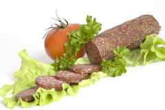 Salami and vegetables Royalty Free Stock Photography