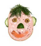 Salami with vegetables face Stock Image