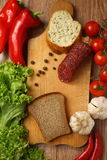 Salami and vegetables Royalty Free Stock Photos