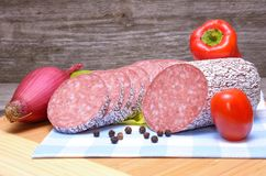 Salami and vegetables Stock Photo