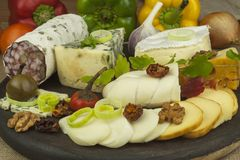 Salami with walnuts. Delicious specialty. Different kinds of cheese and vegetables. Stock Photos