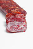 Salami on white background Royalty Free Stock Photography