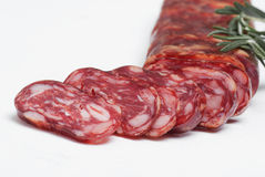 Salami on white background Stock Images