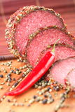 Salami With Chili And Pepper Royalty Free Stock Images