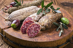 Salami on the Wooden Board Royalty Free Stock Photography