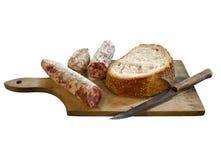 Salami y pan Imagen de archivo libre de regalías