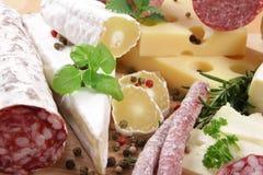 Salami y queso Imágenes de archivo libres de regalías