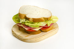 Salami Yellow Chesse Sandwich. Fresh Salami Yellow Cheese Sandwich with Lettuce and Tomatoes Stock Images