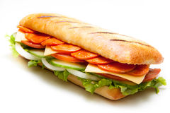 Salamipanninismörgås royaltyfri foto