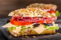 Salamisandwiches royalty-vrije stock afbeelding