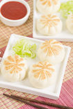 Salapao. Thai steamed buns filled with chicken Stock Images