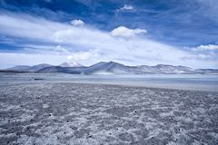 Salar de Aguas Calientes Spanish for Hot Waters Salt Lake and lagoon in the Altiplano. High Andean plateau over 4000 meters over the sea level, Los Flamencos Stock Photo