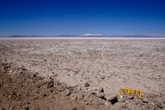 Salar de Atacama in Chile. A distance marker on the side of the road in the Atacama desert in Chile Royalty Free Stock Images