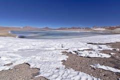 Salar de Pujsa. With snow and salt water lake Royalty Free Stock Photo