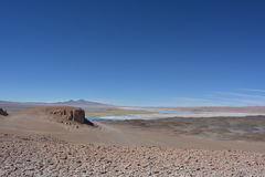 Salar de Tara salt lake in Atacama Desert, Bolivia. Beautiful landscape of the Salar de Tara desert, with the Salar de Tara lake at the background Stock Photos