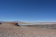 Salar de Tara salt sjö i den Atacama öknen, Bolivia Arkivfoton