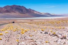 Salar de Tara - Truck, road and nature. Salar de Tara - Chile - Atacama Desert royalty free stock image