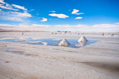 Salar de Uyuni. Little mountains of salt in Salar de Uyuni in Bolivia Royalty Free Stock Photo
