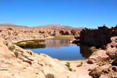 Salar de Uyuni desert black laguna Royalty Free Stock Image