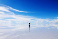 Into Salar de Uyuni Royalty Free Stock Photo
