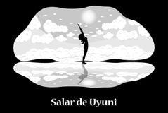 Salar de Uyuni. Illustration with Bolivia landmark - Salar de Uyuni vector illustration