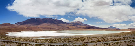 Salar de Uyuni Laguna Blanca, Bolivia. A panoramic view of the white Laguna Blanca in the Salar de Uyuni desert, Bolivia royalty free stock images