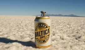Salar de Uyuni Salt Flats in Bolivia. Perspective with Baltica beer stock images