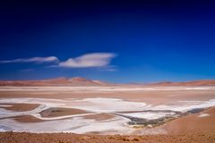 Salar on remote mountain plain. Big salar near the famous Valle the la Luna near San Pedro de Atacama in Chile Stock Image
