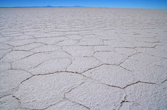 Salar Uyuni. Surface of Salar Uyuni in Bolivia in South America Stock Images