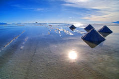 Salar Uyuni söder av Bolivia Arkivbilder