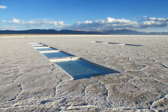 Salar Uyuni salt lake and salt mines with water Royalty Free Stock Photos