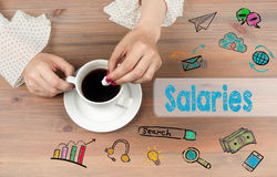 Salaries. Coffee cup with sugar on a wooden tablen Stock Photo