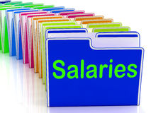 Salaries Folders Show Paying Employees And Remuneration Stock Images