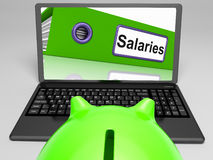 Salaries Laptop Means Payroll And Income Stock Image