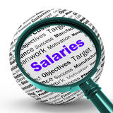 Salaries Magnifier Definition Means Employer Earnings Or Incomes Royalty Free Stock Image