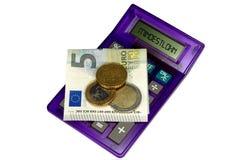 Salario mínimo y calculadora alemanes Imágenes de archivo libres de regalías