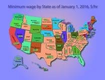 Salario minimo di Infographics in U.S.A. Immagine Stock