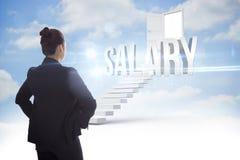 Salary против шагов водя к открыть двери в небе Стоковые Фото