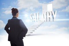 Salary against steps leading to open door in the sky Stock Photos