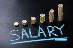 Salary Concept With Stacked Coin On Blackboard. High Angle View Of Salary Concept With Stacked Coin On Blackboard Royalty Free Stock Photos