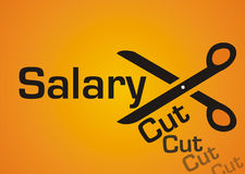 Salary cut. Illustration of salary cut isolated on orange background Stock Photography