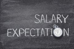 Salary expectations watch. Salary expectations phrase written on chalkboard with vintage precise stopwatch royalty free stock image