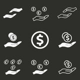 Salary icon set. Salary vector icons set. White illustration isolated on black background for graphic and web design Royalty Free Stock Photos