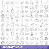 100 salary icons set, outline style Stock Photos